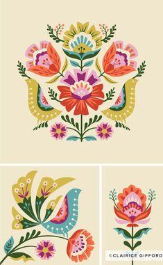 Floral Pattern Illustration - Trend Topic For You 2020 Folk Art Flowers, Flower Art, Folk Embroidery, Embroidery Patterns, Hungarian Embroidery, Illustration Blume, Illustration Flower, Polish Folk Art, Scandinavian Folk Art
