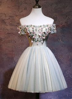 Lovely Short Tulle Homecoming Dresses, New Style Party Dress with Flowers, Cute Formal Dress 2018
