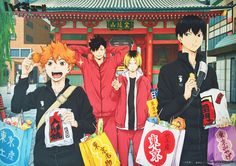 Tags: Official Art, Production I.G., Haikyuu!!, Hinata Shouyou, Kageyama Tobio, Kuroo Tetsurou, Kozume Kenma