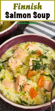 Here's an authentic recipe from Northern Europe that will give you a taste of Finnish cuisine. Lohikeitto (Finnish Salmon Soup) is light, creamy, and delicious! Excellent as an appetizer or as a meal on its own! Salmon Soup, Salmon And Shrimp, Seafood Recipes, Cooking Recipes, Healthy Recipes, Cooking Tips, Creamy Soup Recipes, Norwegian Food, Norwegian Recipes