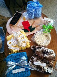 Crocheted items!  Baby booties, dishcloths, Christmas ornaments.
