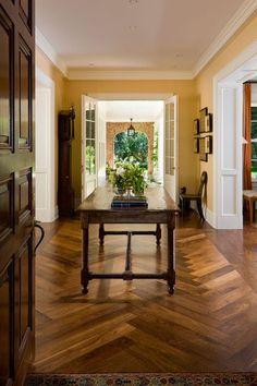 custom site finished black walnut floor in herringbone pattern