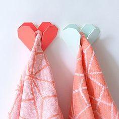 Origami Heart Coloured Metal Hook - hooks, pegs & clips