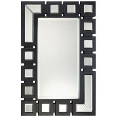 "Modern Wall Mirrors textured stone black and tan 32 1/4"" square wall mirror 
