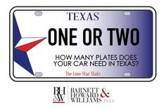 What does Texas law say about license plates?  Do you need one or two?