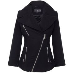 Firetrap Legacy solid pea coat with biker styling ($115) ❤ liked on Polyvore