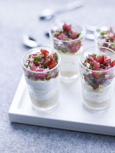 Cheesecake salé, tartare de tomates et jambon Cru Aoste