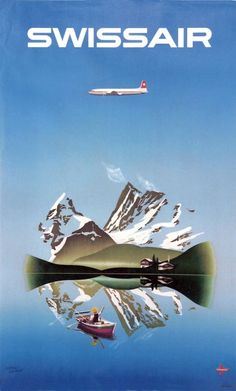 1956 Fly Swissair to the mythic Switzerland, vintage travel poster