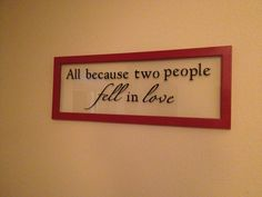 Vinyl quote on floating frame. Love it.