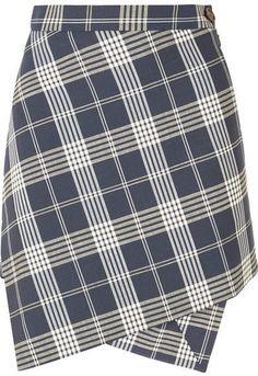 6ee6d9f075 Vivienne Westwood - Infinity Asymmetric Wrap-effect Tartan Wool Mini Skirt  - Navy. Tartan