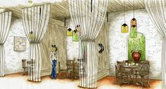 Restaurant rendering by Amy Barton