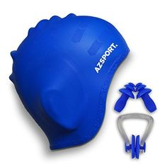 AZSPORT Swim Cap Nose Clips and Ear Plugs Included Blue