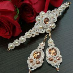 Купить Серьги и браслет - сутажный браслет, сутажные серьги, серьги, браслет, вечерние украшения