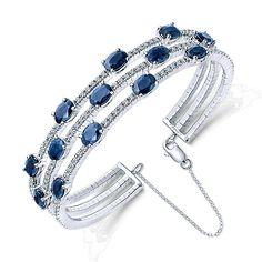 14k White Gold Diamond  And Sapphire Bangle angle 2