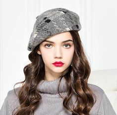 Vintage plaid French beret hat for women wool winter hats