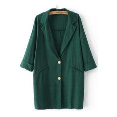 SheIn(sheinside) Green Lapel Buttons Pockets Loose Blazer (€25) ❤ liked on Polyvore featuring outerwear, jackets, blazers, green, linen blazer, single breasted jacket, long green jacket, long jacket and embellished jacket