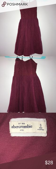 Girls Abercrombie Kids dress- worn 1 time Maroon dress Lace top Polka dot mesh material on bottom over lace material  Crosses in back  Back straps have been shortened   Very good condition abercrombie kids Dresses