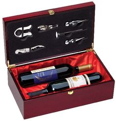 Rosewood Double Bottle Box - An Elegant Double Wine Bottle Presentation Set in Rosewood Piano Finish including Wine Bottle Opener and Stopper. #gift #giftset #wine #valentine