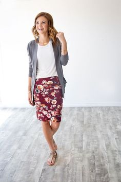 Floral pencil skirt and grey cardigan - so cute! Perfect for fall!