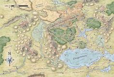 I love Mike Schley's style - it's so distinctive. This one's a map of Cormyr, a part of the Forgotten Realms my players know well.