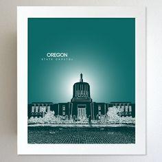 Oregon Skyline State Capitol Landmark - Modern Gift Decor Art Poster 8x10. $20.00, via Etsy.