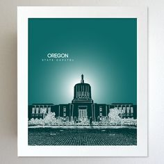 Oregon Skyline State Capitol Landmark - Modern Gift Decor Art Poster 8x10. $20.00, via Etsy.