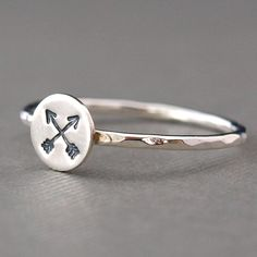 Arrow Jewelry, Arrow Ring, Sterling Silver Stacking Ring. $25.00, via Etsy.