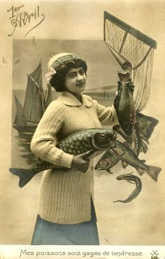 Another lovely vintage French April Fool's Day postcard. #vintage #April_Fools_Day #fish