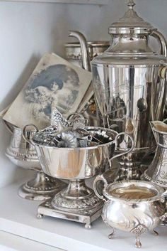 Decorating with Antique Silver Find your own Antique Silver Trays, Dishes, Tea Sets & Candlesticks French Decor, French Country Decorating, Silver Trays, Silver Plate, Vintage Silver, Antique Silver, Antique Jewelry, French Country House, Country Living