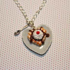 Waffle and Chocolate Sauce Necklace - Heart Necklace - Valentine Necklace - Miniature Food Necklace - kawaii Necklace