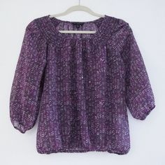 Banana Republic - Purple printed top Purple printed 3/4 sleeve top. Only worn once.  Offers welcome.  No trades.  Bundle for discount. Banana Republic Tops