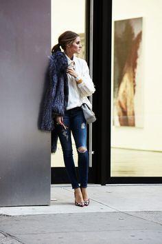 white blouse, ripped skinny jeans, pastel blue handbag, cross body bag, furry coat, olivia palermo
