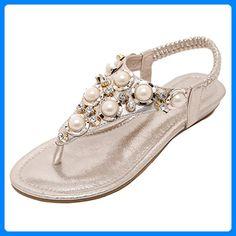 SUNAVY Damen Böhmen Bling Sommer Flach Sandalen mit Strass Pearl Peep Toe Flip Flops Zehentrenner,Gold,EU 39