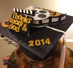 Stand out at graduation, made this for my cousin....she graduated in film media production....#graduationcap #diy