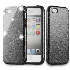 Mave Case for iPhone SE,PU Leather Rubber Back Cover Shinning Protective Bumper Bling Glitter 3-Layer Case for iPhone SE