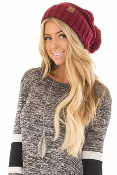 1fc89f88a12 Lime Lush Boutique - Burgundy Thick Knit Beanie with Pom Detail