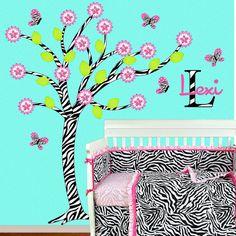 Hot Pink  Zebra Tree Wall Decal Children Baby by onehipstickerchic