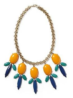 Marigold Teal Navy Gold            Pim + Larkin Colorful Cabachon Statement Necklace | Piperlime