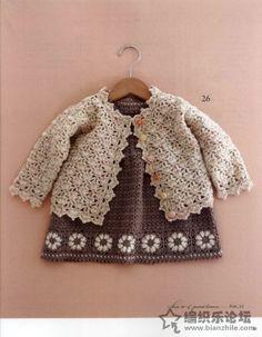 Flower pattern long-sleeved cardigan baby crochet pattern 2