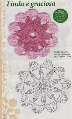 Watch The Video Splendid Crochet a Puff Flower Ideas. Phenomenal Crochet a Puff Flower Ideas. Crochet Leaves, Crochet Motifs, Crochet Circles, Knitted Flowers, Crochet Mandala, Crochet Flower Patterns, Crochet Stitches Patterns, Crochet Diagram, Crochet Chart
