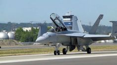 Close up taxi and LOUD after burner take off F18 super hornet at Boeing ...