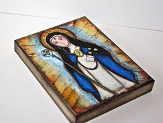 Saint Beatrice   Giclee print mounted on Wood 4 x 5 by FlorLarios