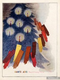 A charming Gants Aris Christmas themed glove ad from 1946. #vintage #1940s #gloves