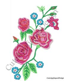 Floral Embroidery Design No 1161 by CuteAppliquesDesign on Etsy
