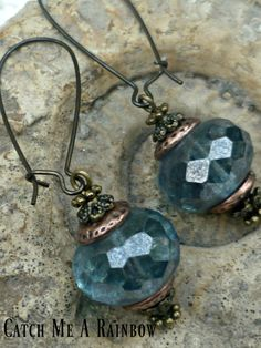 Blue steampunk earrings blue dangle by catchmearainbow on Etsy