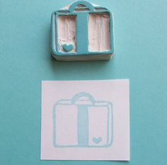 Bon Voyage Heart Suitcase (cute for a thank you card after the wedding) Stencil Font, Stencils, Eraser Stamp, Stamp Carving, Handmade Stamps, Suitcases, Art Journal Pages, Diy Paper, Cool Drawings