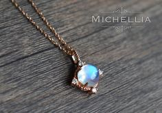 14K/18K Gold Moonstone Necklace with Diamond, Galaxy Star Moon Necklace, Solid Gold Rainbow Moonstone Pendant, Blue Moonstone Jewelry