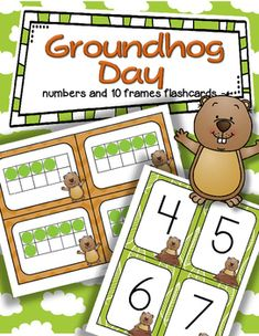 ***FREE*** A set of BIG Groundhog Day theme number flashcards 0-20, plus a set of 10-frame flashcards, 0-20 - for centers, individual work, and small group teaching. They can used for matching, sequencing, subitizing, recognition, and memory, concentration and snap games.