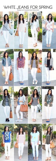 351df202a81 Ways to wear WHITE jeans in the spring Casual White Jeans Outfit Summer