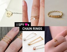 These little chain rings are just simply beautiful! Delicate and simple ♥ Diy Bracelets And Earrings, Kids Jewelry, Jewelry Ideas, I Spy Diy, Design Your Own Ring, Beaded Jewelry, Diy Jewellery, Wire Jewelry Making, Hand Chain